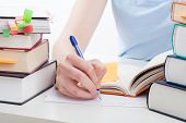 stock photo of homework  - Student reading a book and writing the notes - JPG