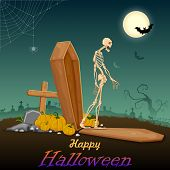 stock photo of coffin  - illustration of skelton coming out of coffin in Halloween night - JPG