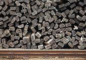 Pile Of Old Used Railways Sleepers