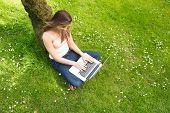 Cute woman leaning against a tree using her notebook on a sunny day
