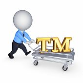 3d person with pushcart and TM symbol.