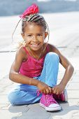 picture of mulatto  - Portrait of a 4 years fashion mulatto girl - JPG