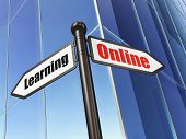 Education concept: Online Learning on Building background