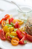 Chickenburger With Tomato Salad