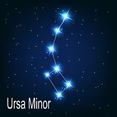 Постер, плакат: The constellation Ursa Minor star in the night sky Vector il