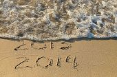 New Year 2014 in sand