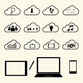 Cloud computing icons on texture background