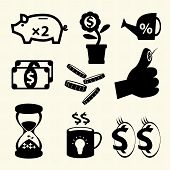 Finance and business icons set on texture background. Vector