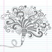 Microphone Music Back to School Sketchy Notebook Doodles Illustration with Palm Shooting Stars and M