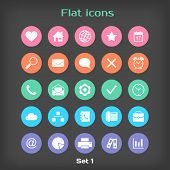 Vector Round Flat Icon Set