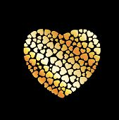 Heart With Hearts- gold heart