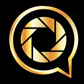 Golden Q shaped photography symbol