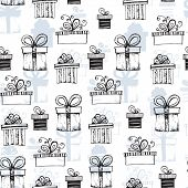 Seamless pattern with handdrawn gift boxes