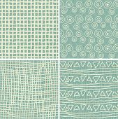 Set Of 4 Retro Seamless Patterns In 3 Colours