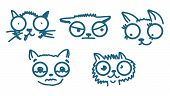 Doodle Cats Isolated On White