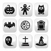 Halloween buttons set - pumpkin, witch, ghost, grave