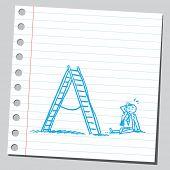 Businessman fall from ladder