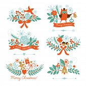 Set of Christmas and New Year graphic elements, holiday symbols