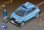 Isometric Italian Police Car