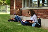 Two students sit on a grass and doing their lessons