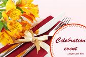 Festive dining table setting with flowers close up