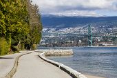 View of the Lions Gate Bridge in Vancouver, British Columbia.