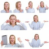 Photo Collage Of A Young Woman In Various Gestures