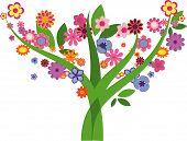 Árvore com flores - imagem vetorial
