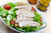 Fresh Caesar Salad With Chicken Breast,lettuce And Tomatoes