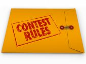 stock photo of raffle prize  - Contest Rules Terms Conditions Yellow Envelope Instructions - JPG
