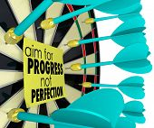 Aim for Progress Not Perfection Dart Board
