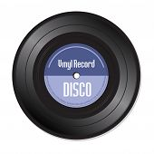 pic of jukebox  - Blue vinyl record with the word disco isolated on a white background - JPG