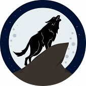 stock photo of wolf moon  - Vector illustration of a wolf howling to the moon at night - JPG
