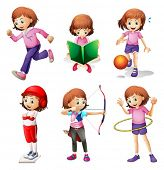 pic of hulahoop  - Illustration of a young girl doing different activities on a white background - JPG