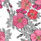 Vintage graphic flower seamless pattern texture