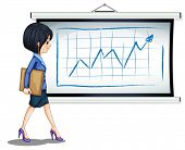 Illustration of a successful businesswoman near the chart on a white background