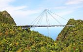 stock photo of langkawi  - Curved pedestrian cable stayed bridge - JPG