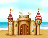 Illustration of a castle at the beach