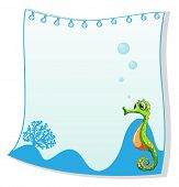 Illustration of an empty paper template with a seahorse on a white background