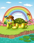 Illustration of a turtle at the pond with a rainbow in the sky