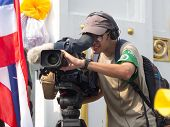 Foreign Journalist At An Event The Protests In Thailand.