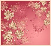 Background with abstract flowers on pink background