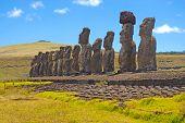 Moai Stone Statues at Rapa Nui - Easter Island