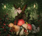 stock photo of fairy-mushroom  - Fairy playing the flute sitting on mushrooms in the forest - JPG