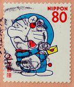 JAPAN - CIRCA 2000: A stamp printed in japan shows a popular cartoon character, Doraemon , circa 2000