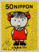 JAPAN - CIRCA 2000: A stamp printed in japan shows The little girl, circa 2000