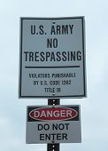U.S. Army No Trespassing Sign