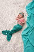 Newborn Baby Girl Wearing Mermaid Costume