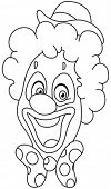 Outlined clown face. Vector illustration coloring page