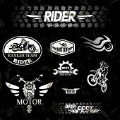 stock photo of motocross  - motorcycle vintage labels set of grunge emblems - JPG